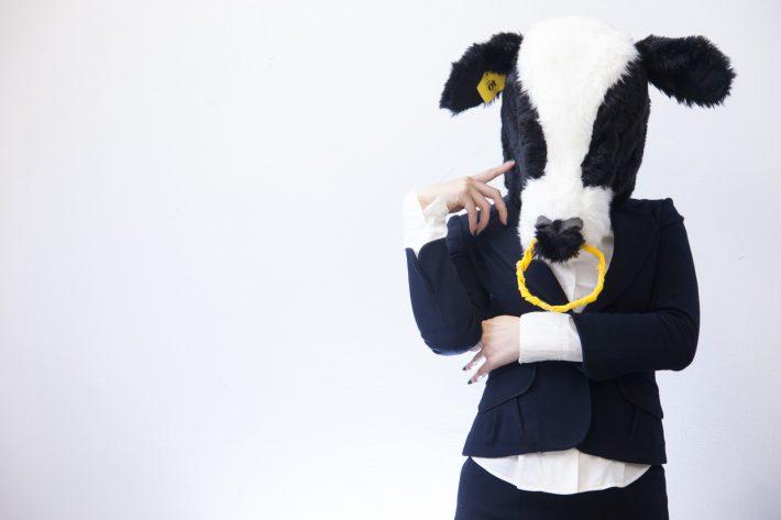 悩んでいる牛