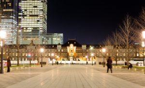 東京駅丸の内側正面からの夜景