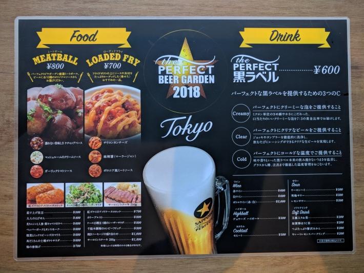 Perfect Beer Garden新宿のメニュー