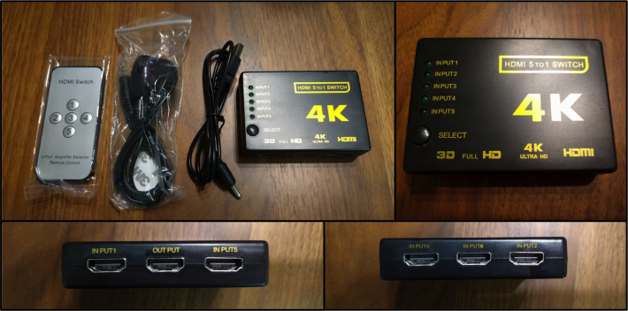 AVセレクター(5入力・1出力・リモコン・リモコン受光部・USB電源ケーブル)