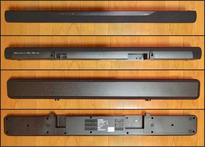 ホームシアタースピーカー・ヤマハYAS-207のサウンドバーの正面・背面・上部・下部