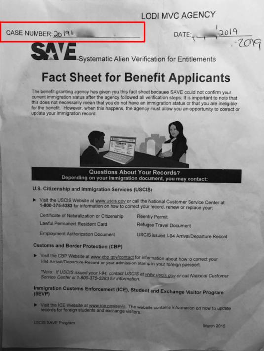 MVCからもらったSAVE Case Numberが書かれた紙