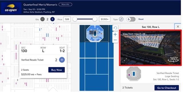 全米オープンチケットの座席からの眺め