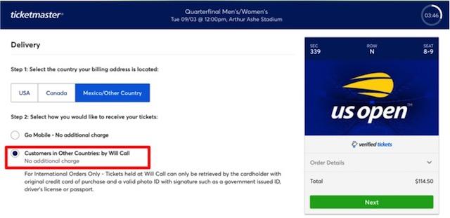 US Openテニスのチケットの受け取り方法選択画面