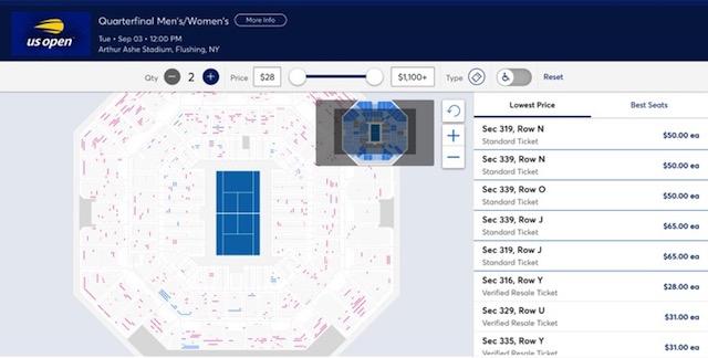 全米オープンテニスのチケット購入画面(青のドットがStandard Ticket、赤のドットがResale Ticket)