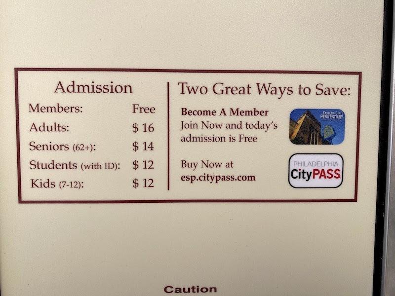 イースタン州立刑務所のチケット料金